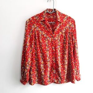 Vintage 70's Red Calico Button Front Blouse S